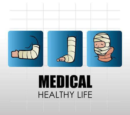 leg bandage: Medical design over white background, vector illustration. Illustration
