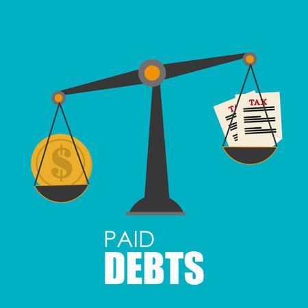 indebtedness: Money design over blue background,vector illustration.