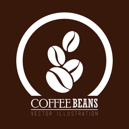chicchi di caffè: Disegno del caff� su sfondo marrone, illustrazione vettoriale.