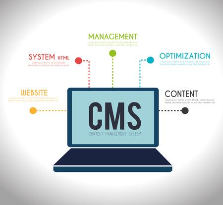 CMS design over white background, vector illustration.