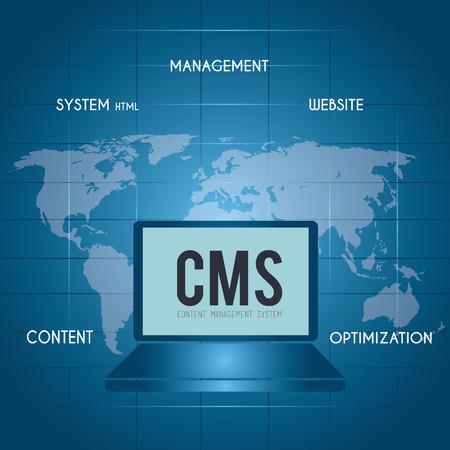 cms: CMS design over blue background, vector illustration. Illustration