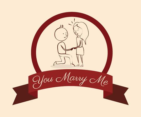 proposed: Wedding design over pink background, vector illustration.