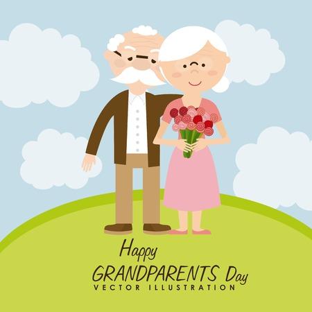 happy grandparents day design, vector illustration  Ilustracja