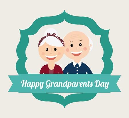 幸せな祖父母 1 日デザイン、ベクトル イラスト