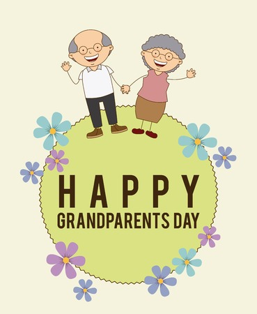 happy grandparents day design, vector illustration Illusztráció