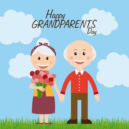 gelukkige grootouders dag ontwerp, vectorillustratie eps10 grafische