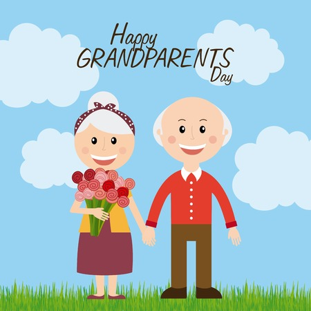 cloudy day: happy grandparents day design, vector illustration eps10 graphic Illustration