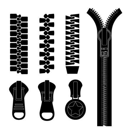 zipper: Zipper design over white background, vector illustration. Illustration