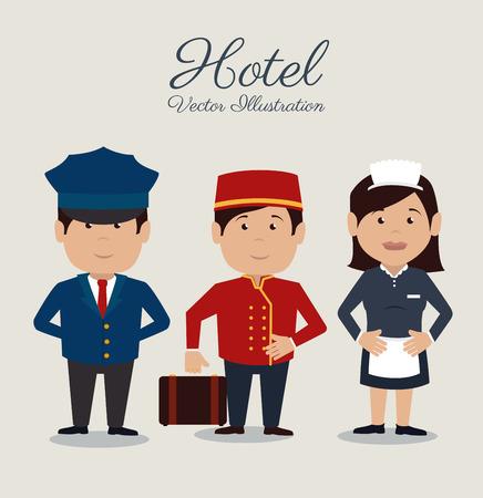 Hotel design auf grauem Hintergrund, Vektor-Illustration