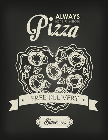 Pizza design over black background, vector illustration Vector
