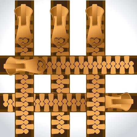 fastener: Zipper design over white background, vector illustration. Illustration
