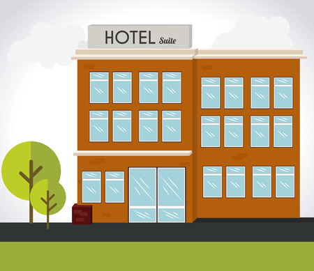 residential tree service: Hotel design over landscape background, vector illustration