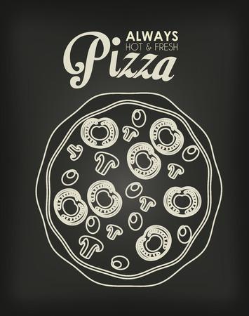 nutritive: Pizza design over black background, vector illustration