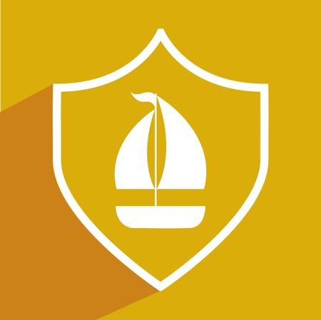 barca a vela: vela progettazione delle imbarcazioni, illustrazione grafica vettoriale eps10