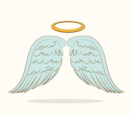 alas de angel: Dise�o de �ngel sobre el fondo blanco, ilustraci�n vectorial.