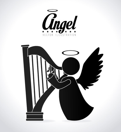 Angel design over white background, vector illustration. Çizim