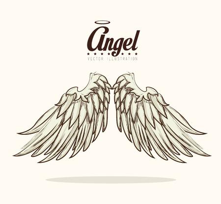 wings angel: Disegno di angelo su sfondo bianco, illustrazione vettoriale.