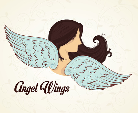 hair feathers: Angel design over white background, vector illustration. Illustration