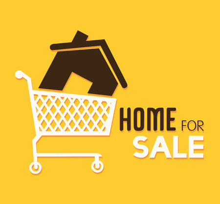 shoppping: Real estate over yellow background, vector illustration.