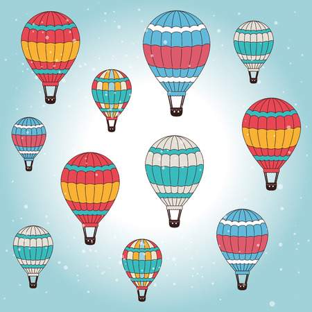 colection: Airballoon design over cloudscape background,vector illustration.