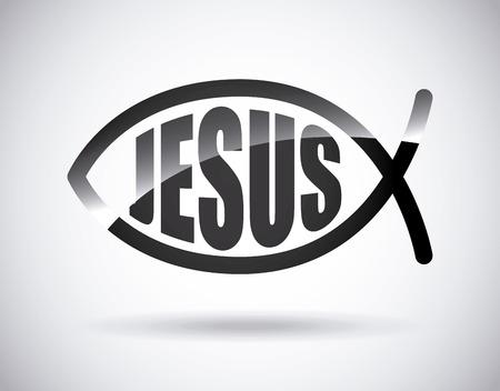 pez cristiano: jesus cristo dise�o, ilustraci�n vectorial gr�fico eps10