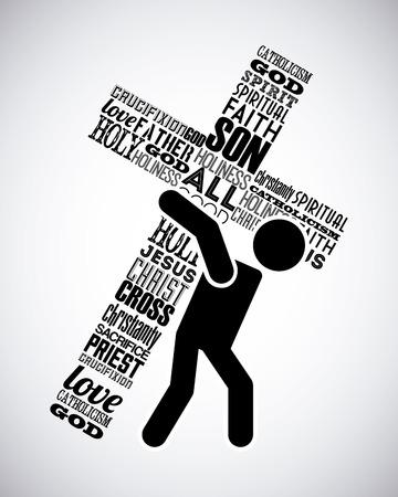 pasqua cristiana: ges� cristo disegno, illustrazione grafica vettoriale eps10