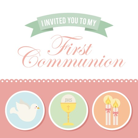 holy eucharist: first communion design, vector illustration eps10 graphic