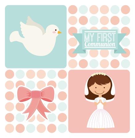 Eerste communie ontwerp, vectorillustratie eps10 grafische Stockfoto - 35451409