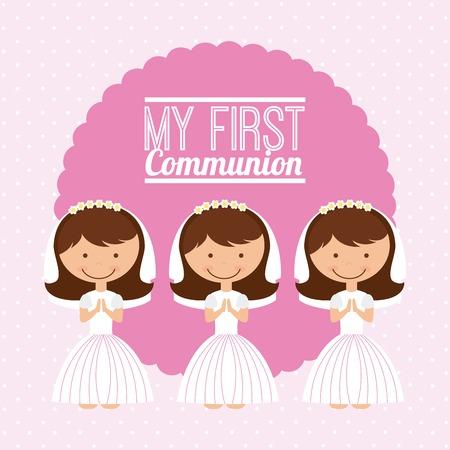 prima comunione: primo progetto di comunione, illustrazione grafica vettoriale eps10