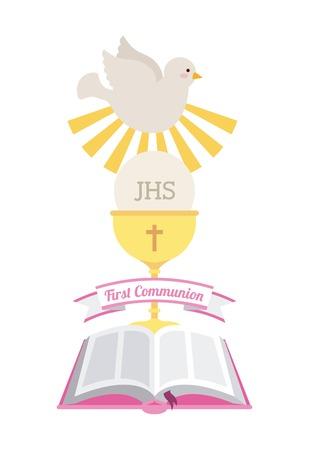 holy  symbol: primera comuni�n dise�o, ilustraci�n vectorial gr�fico eps10