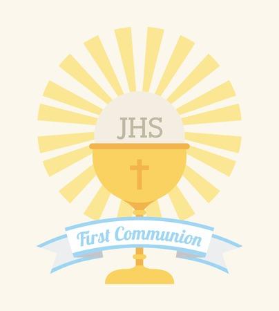 first communion: premier mod�le de la communion, illustration graphique eps10
