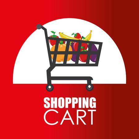 increase fruit: Shopping design over red background, vector illustration. Illustration
