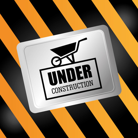 reconstruction: Construction design over yellow and black stripes background, vector illustration. Illustration
