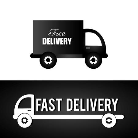 illustraton: Delivery design over black and white background, vector illustraton.