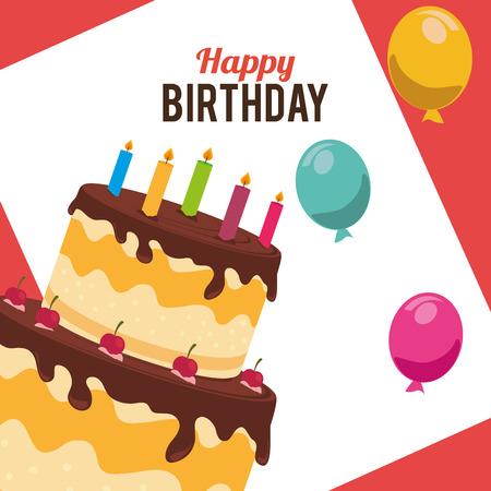 Birthday card design, vector illustration.