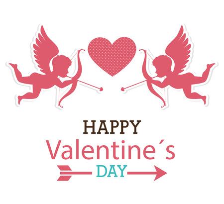 silhouettes lovers: D�a de San Valent�n sobre blanco