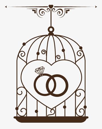 anillos boda: Dise�o del amor sobre el fondo blanco, ilustraci�n vectorial.
