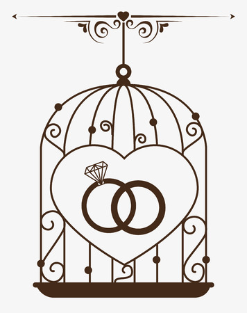 rings: Love design over white background, vector illustration. Illustration