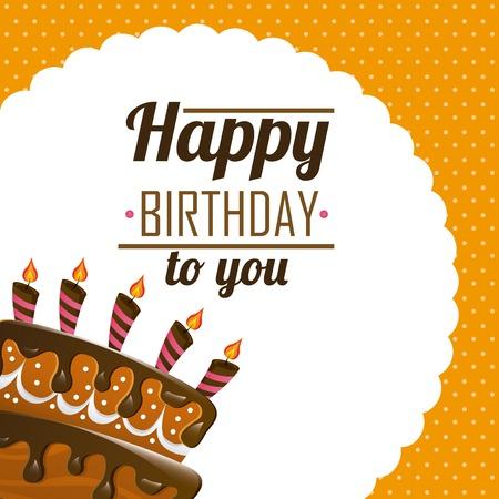bright cake: happy birthday design, vector illustration Illustration