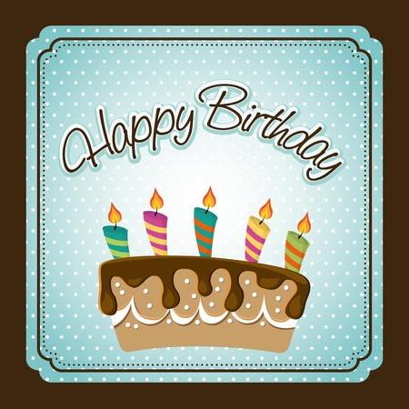 torta candeline: progettazione di buon compleanno, illustrazione vettoriale Vettoriali