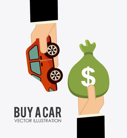 buy a car design, vector illustration Çizim