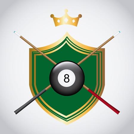pool cues: billiard tournament design, vector illustration Illustration