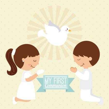 niño orando: primera comunión diseño, ilustración vectorial gráfico eps10