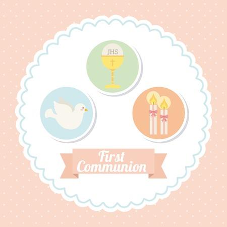 comunion: primera comuni�n dise�o, ilustraci�n vectorial gr�fico eps10