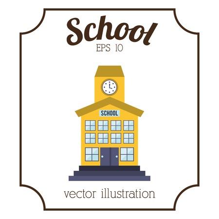 escuela edificio: dise�o edificio de la escuela, ilustraci�n vectorial gr�fico eps10 Vectores