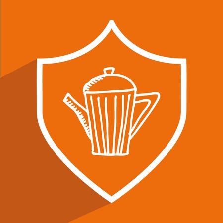 aliment: Foo design over orange background, vector illustration.