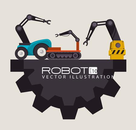 robots: Robot design over beige background, vector illustration.