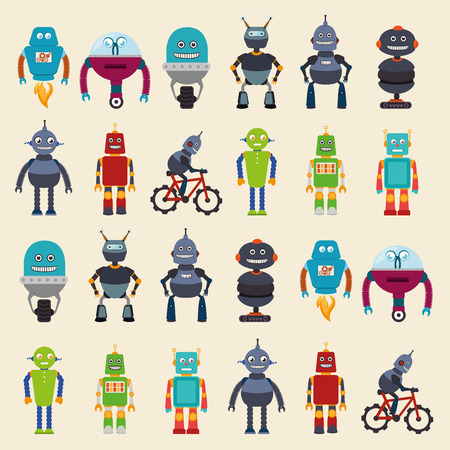 funny robot: Robot design over beige background, vector illustration.