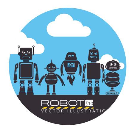 cloudscape: Robot design over cloudscape background, vector illustration.