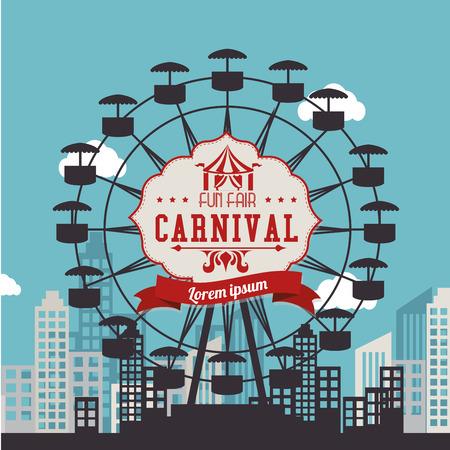 urbanscape: Carnival design over urbanscape background, vector illustration. Illustration